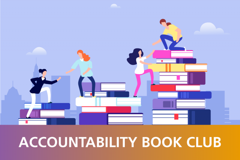 "A vector image shows people helping one another up a staircase of books, with a slightly cloudy blue sky and cityscape behind them.  Underneath is a purple to gold gradient rectangle with white text inside, reading, ""ACCOUNTABILITY BOOK CLUB""."