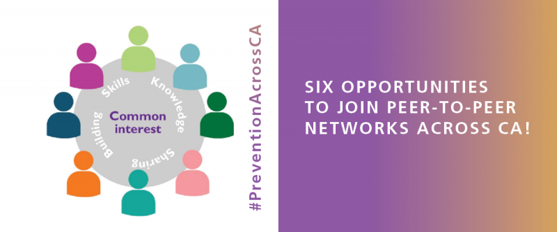 "People icons in various colors are placed around a gray circle with the words, ""Common Interest (center), Skills, Knowledge, Sharing, and Building"". Next to it is the hashtag #PreventionAcrossCA in a magenta to gold gradient. To the right is a rectangle with the same gradient, and white text reading, ""Six Opportunities to Join Peer-to-Peer Networks Across CA!"