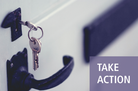 "A key is shown in a lock, with a black handle and mail slot beneath and next to it. ""TAKE ACTION"" is shown in white against a purple rectangle."