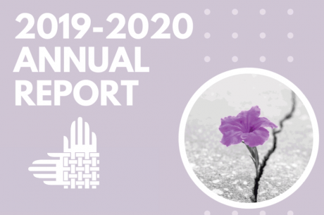 "Against a lilac background, ""2019-2020 ANNUAL REPORT"" is shown in white. Decorative white dots are on the right side of the image, with a circular photo of a purple flower emerging from a crack in a sidewalk. At the bottom is an element of the Partnership's logo, interwoven hands in white."