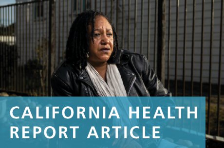 "Cat Brooks, Executive Director of Justice Teams Network is shown in a photo. White text in front of a semi-transparent blue background reads, ""CALIFORNIA HEALTH REPORT ARTICLE""."