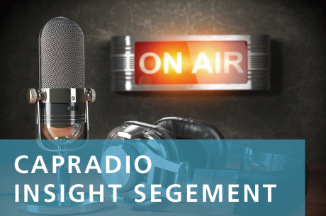 """CapRadio Insight Segment"" overlays a microphone and a lit-up ""on air"" sign."