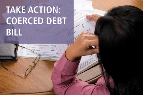 "A person is sitting at a table with their hand on their head. They are looking at a pile of bills. ""TAKE ACTION: COERCED DEBT BILL"" is shown in white against a semi-translucent purple rectangle."