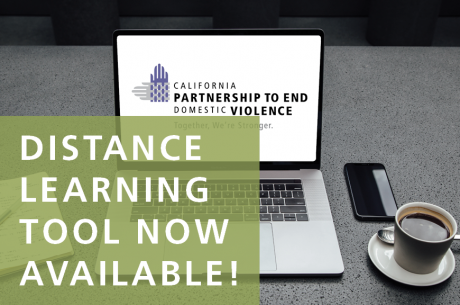 """DISTANCE LEARNING TOOL"" is shown in white against a semi-translucent green rectangle. Behind it is a laptop with the Partnership's logo in the center, and a cell phone & coffee to is to the right."