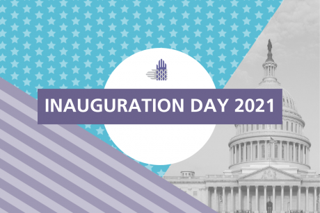 "Three different backgrounds are shown in this image: purple and gray stripes, white stars against a blue background, and a black and white image of the U.S. Capitol. In the center is a white circle with an element of the Partnership's logo, intertwined hands in gray and purple, in the center. A purple rectangle is in front, with white text reading, ""INAUGURATION DAY 2021""."