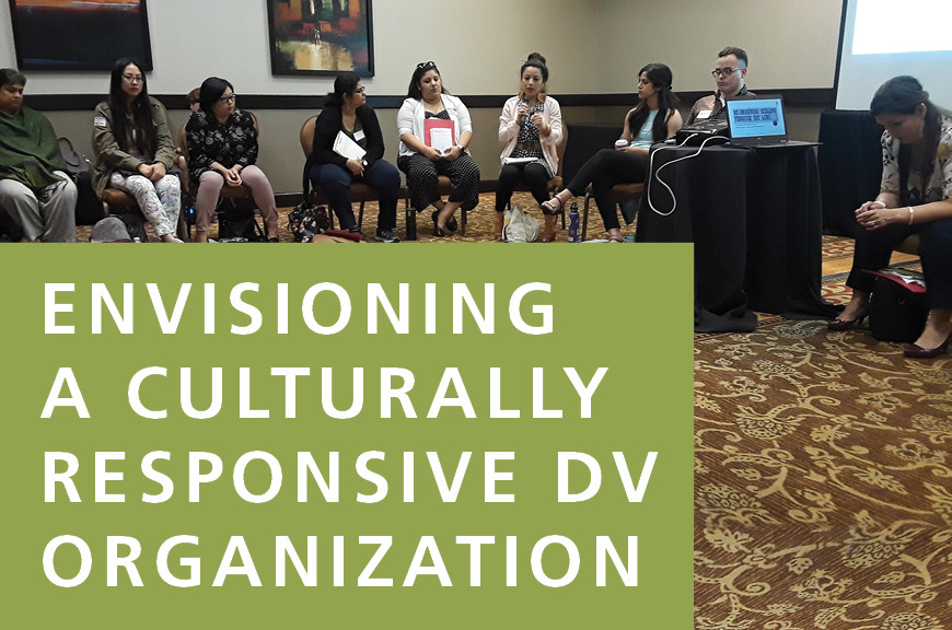 "The Culturally Specific Collaborative is in the background, with white text against a green rectangle. It reads, ""Envisioning a culturally responsive organization"""