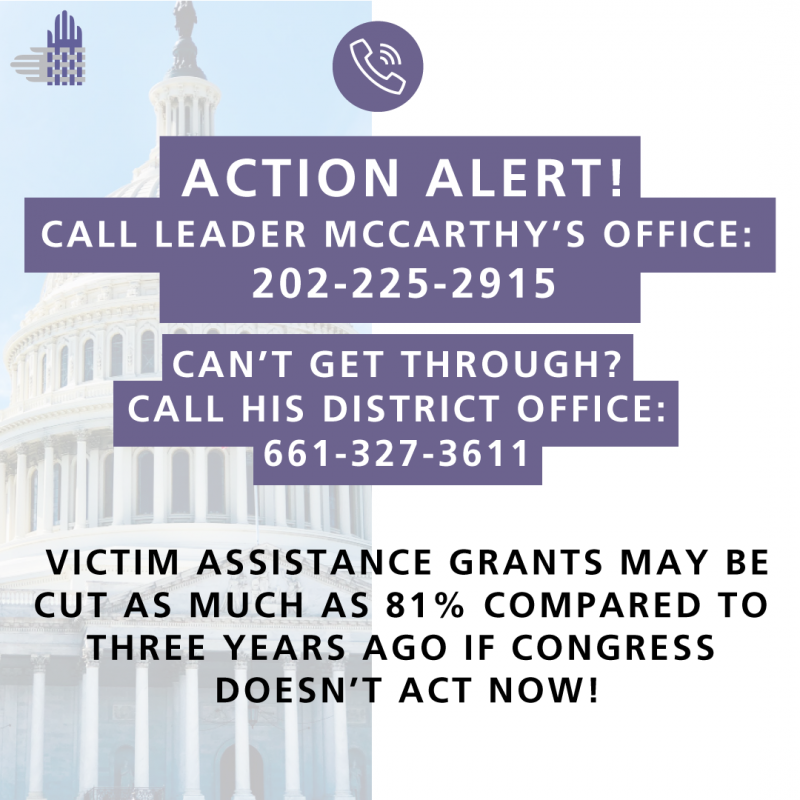 "There is a semi-translucent image of the U.S. Capitol on the left side of the image, with an element of the Partnership's logo, interwoven hands in gray and purple, toward the top. In the center is a white icon of a phone inside a purple circle. Underneath, white text with a purple background reads, ""'ACTION ALERT! CALL LEADER MCCARTHY'S OFFICE: 202-225-2915 